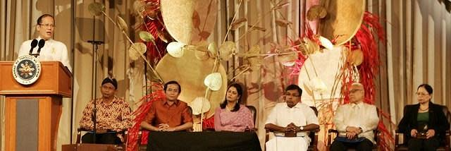 President Benigno Aquino III delivers his message before the winners of the Ramon Magsaysay awards (left to right) Ambrosius Ruwindrijarto of Indonesia, Yang Saing Koma of Cambodia, Syeda Rizwana Hasan of Bangladesh, Kulandei Francis of India, Romulo Davide of Philippines, and Chen Shu-Jiu of Taiwan, during the awarding ceremony held Aug. 31 at the Philippine International Convention Center in Pasay City. (Mike Alquinto, NPPA Images)