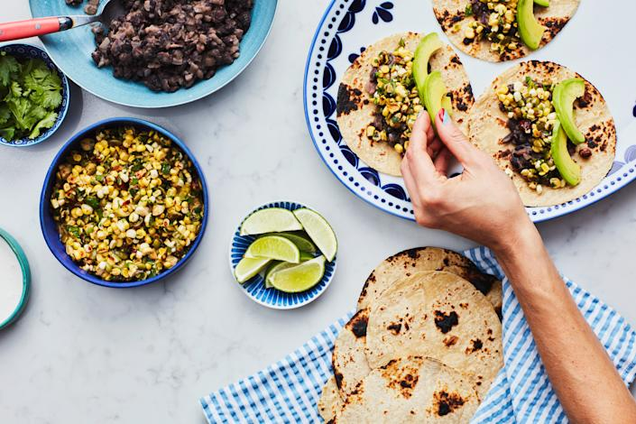 """<h1 class=""""title"""">Spicy Black Bean and Corn Tacos: NO MEAT NO PROBLEM INSET 2</h1> <div class=""""caption""""> No meat, no problem. </div> <cite class=""""credit"""">Photo by Chelsea Kyle, Food Styling by Katherine Sacks</cite>"""