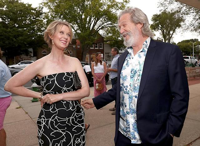 """<p>Co-stars Cynthia Nixon and Jeff Bridges shared a laugh at an East Hampton, N.Y., screening of their movie, <i>The Only Living Boy in New York</i>. Think they were discussing <a href=""""https://www.yahoo.com/celebrity/cynthia-nixon-reportedly-weighing-big-185600133.html"""" data-ylk=""""slk:Nixon's political potential"""" class=""""link rapid-noclick-resp"""">Nixon's political potential</a>? (Photo: Todd Williamson/Getty Images for Amazon Studios) </p>"""