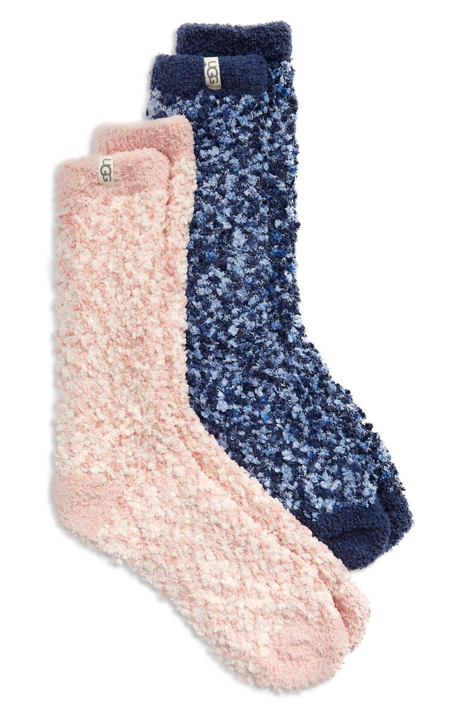 <p>Keep their feet warm with these adorable <span>Ugg Assorted 2-Pack Cozy Chenille Crew Socks</span> ($34). It's a cuddle worthy find that they'll use all the time!</p>