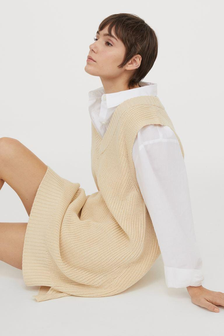 <p>We love the slouchy yet put-together silhouette of thus <span>Knit Sweater Vest Dress</span> ($25).</p>