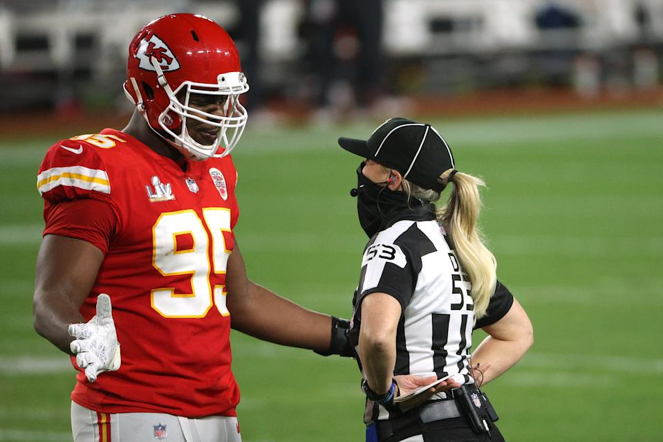 TAMPA, FLORIDA - FEBRUARY 07: Chris Jones #95 of the Kansas City Chiefs speaks with line judge Sarah Thomas #53 during the second quarter of the game in Super Bowl LV at Raymond James Stadium on February 07, 2021 in Tampa, Florida. (Photo by Patrick Smith/Getty Images)