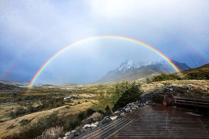 A double rainbow to cap a beautiful day in Patagonia.