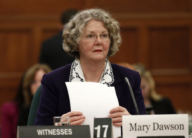 Ethics Commissioner Mary Dawson waits to testify before the Commons ethics committee on Parliament Hill on Feb. 11, 2013.