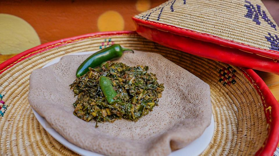"""<p>If lentils aren't part of your Passover tradition, but you are interested in incorporating flavors from across the diaspora into your meal, then try these flavor-packed collard greens instead. Sauteed with onions, garlic and ginger, this vegan side is delicious and nutritious.</p> <p><a href=""""https://www.thedailymeal.com/recipes/ethiopian-goman-collards?referrer=yahoo&category=beauty_food&include_utm=1&utm_medium=referral&utm_source=yahoo&utm_campaign=feed"""" rel=""""nofollow noopener"""" target=""""_blank"""" data-ylk=""""slk:For the Ethiopian Goman Collard Greens recipe, click here."""" class=""""link rapid-noclick-resp"""">For the Ethiopian Goman Collard Greens recipe, click here.</a></p>"""