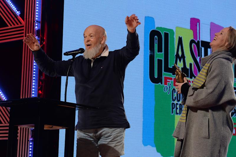 Michael Eavis and Emily Eavis collect the Best Festival Award during the NME Awards 2016 with Austin, Texas at the O2 Brixton Academy, London.
