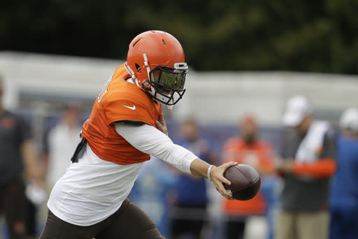 Cleveland Browns quarterback Baker Mayfield (6) runs a drill during practice at the NFL team's football training camp in Wednesday, Aug. 14, 2019, in Westfield, Ind. (AP Photo/Darron Cummings)