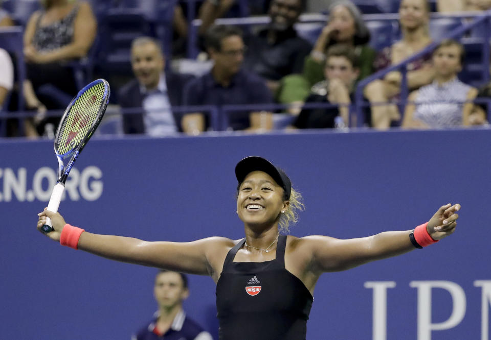 FILE - Naomi Osaka, of Japan, celebrates after defeating Madison Keys during the semifinals of the U.S. Open tennis tournament in New York, in this Thursday, Sept. 6, 2018, file photo. Osaka's return to Grand Slam action for the first time since pulling out of the French Open for a mental health break means she will be the center of attention when she has a racket in her hand as the defending women's champion at Flushing Meadows. (AP Photo/Seth Wenig, File)