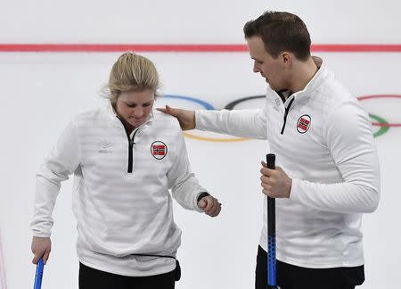 Curling – Pyeongchang 2018 Winter Olympics – Mixed Doubles Bronze Medal Match - Olympic Athletes from Russia v Norway - Gangneung Curling Center - Gangneung, South Korea – February 13, 2018 - Kristin Skaslien and Magnus Nedregotten of Norway. REUTERS/Toby Melville