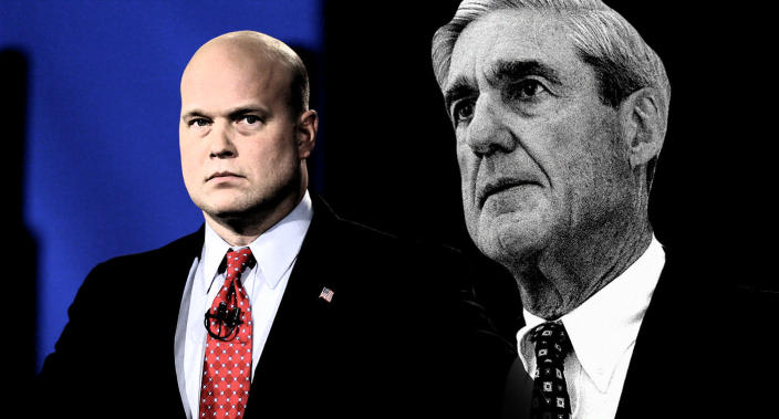 Acting Attorney General Matt Whitaker, left, and special counsel Robert Mueller. (Photo-illustration: Yahoo News; photos: Charlie Neibergall/AP, AP)