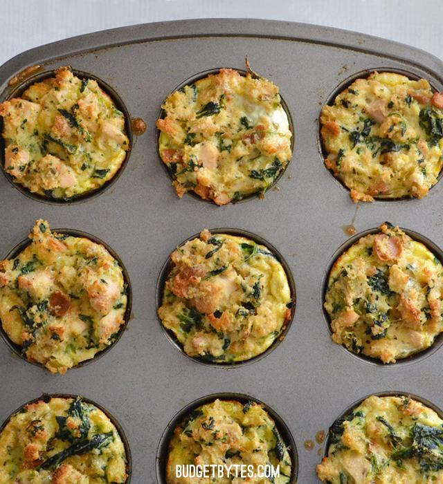 "<p>All it takes is some milk and eggs to transform your Christmas stuffing into these muffin bites. Add leftover ham and frozen spinach to bump up the flavour!<br>Get the recipe <a href=""https://www.budgetbytes.com/2014/11/leftover-stuffin-muffins/"" rel=""nofollow noopener"" target=""_blank"" data-ylk=""slk:here"" class=""link rapid-noclick-resp""><strong>here</strong></a><br>[Photo: Budget Bytes] </p>"
