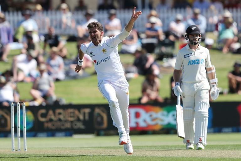 Pakistan's Shaheen Afridi removed openers Tom Latham and Tom Blundell cheaply on a green, seaming wicket and ended the day with three for 55