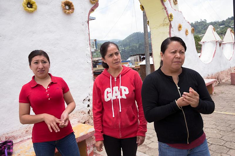 Blanca Hernández, center, Lucero Quechulpa, left, and Fátima Anastasio worked at dairy farms in Wisconsin or Minnesota before returning to Mexico.