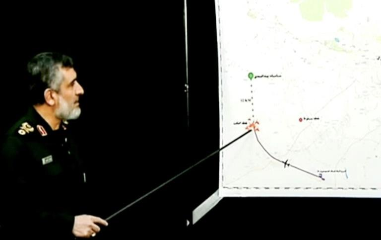 Iranian state TV shows Brigadier General Amir Ali Hajizadeh, aerospace commander of Iran's Revolutionary Guards, pointing at a map during a press conference. Iran said it unintentionally shot down a Ukrainian passenger jet, killing all 176 people aboard