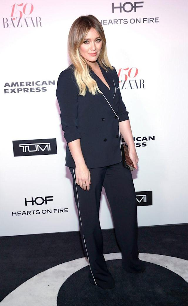 Hilary Duff attends Harper's BAZAAR celebration of the 150 Most Fashionable Women in January. (Photo by Rachel Murray/Getty Images for Harper's Bazaar)