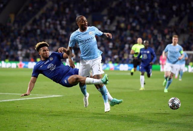 Chelsea's Reece James, left, tackles Manchester City's Raheem Sterling in the Champions League final