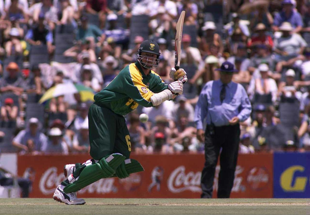 23 Jan 2000:  Lance Klusener of South Africa hits out during the one day game between South Africa and England at Goodyear Park, Bloemfontein, South Africa. Mandatory Credit: Laurence Griffiths/ALLSPORT
