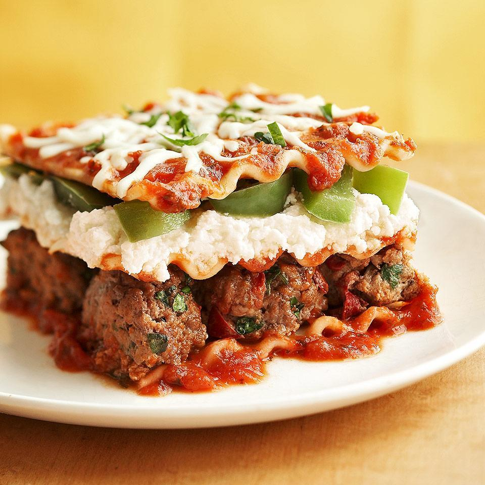 """<p>Whole-wheat noodles, low-fat cheeses and light pasta sauce make this beef and pasta casserole healthy but still deliciously satisfying. <a href=""""https://www.eatingwell.com/recipe/259390/meatball-lasagna/"""" rel=""""nofollow noopener"""" target=""""_blank"""" data-ylk=""""slk:View Recipe"""" class=""""link rapid-noclick-resp"""">View Recipe</a></p>"""