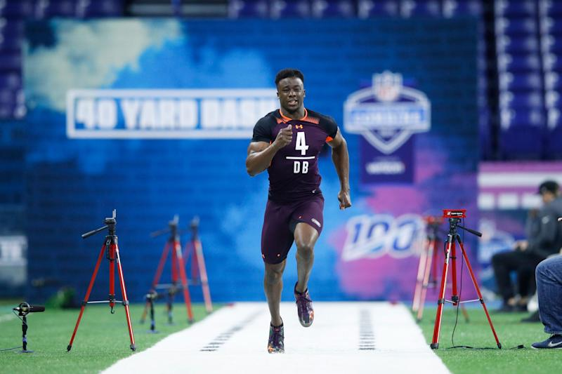 INDIANAPOLIS, IN - MARCH 04: Defensive back Corey Ballentine of Washburn runs the 40-yard dash during day five of the NFL Combine at Lucas Oil Stadium on March 4, 2019 in Indianapolis, Indiana. (Photo by Joe Robbins/Getty Images)