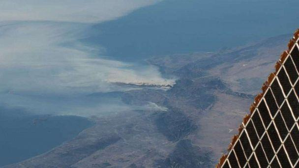 PHOTO: Astronauts on the International Space Station took photos of the smoke from the Southern California wildfires affecting the Los Angeles area on the week of Dec. 4, 2017. (NASA)