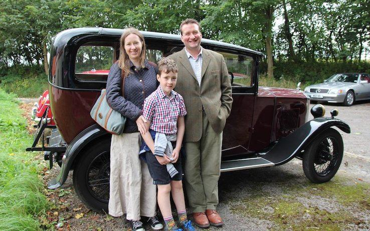 Robin Wills, right, with his wife Anna, left, and son Harry, 9, was able to track down Mr Davidson - Credit: Robin Wills