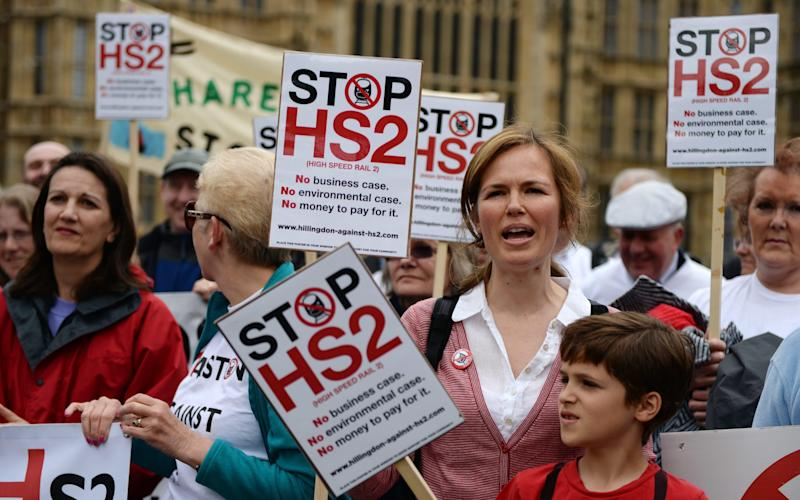 HS2 protest in London - Credit: EPA/ANDY RAIN