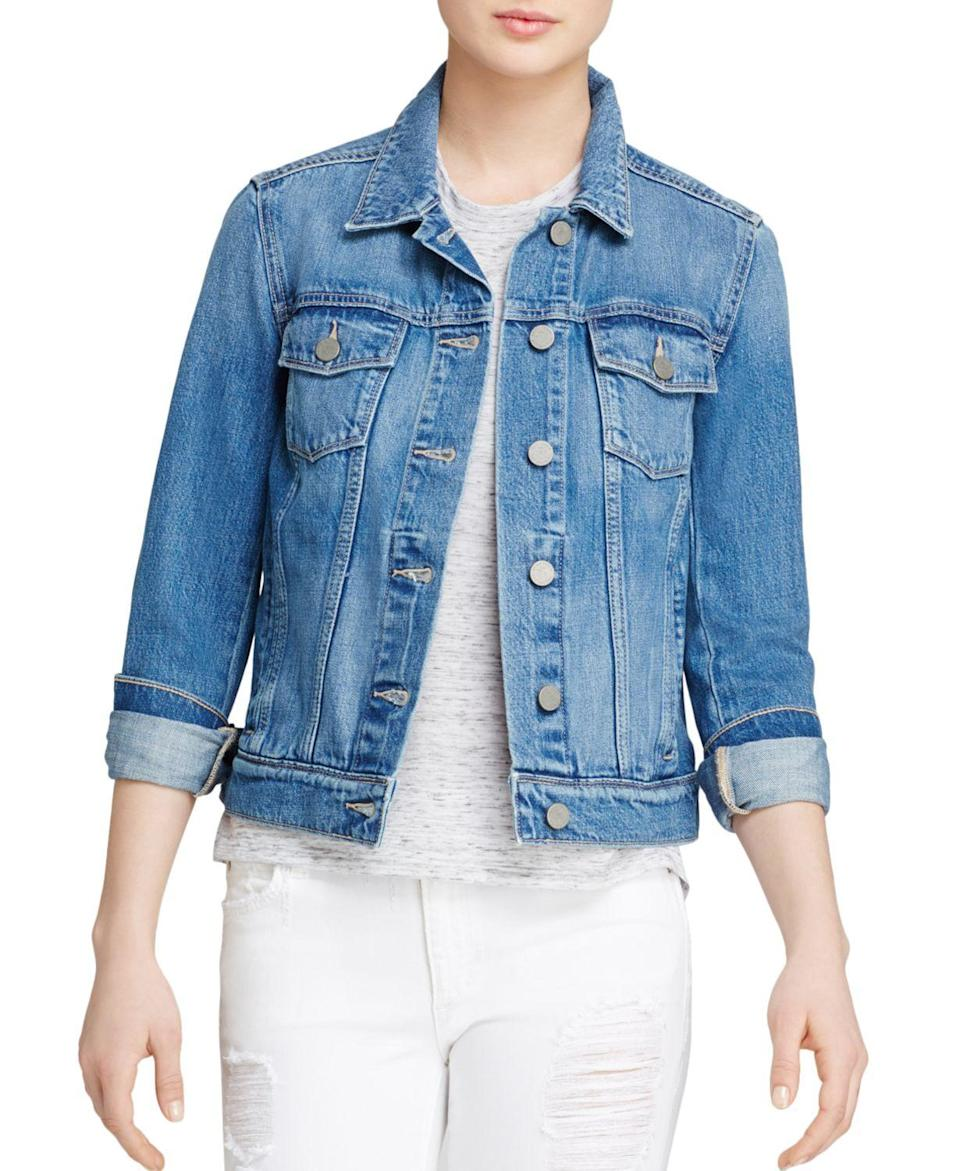 """<p><strong>PAIGE</strong></p><p>bloomingdales.com</p><p><strong>$199.00</strong></p><p><a href=""""https://go.redirectingat.com?id=74968X1596630&url=https%3A%2F%2Fwww.bloomingdales.com%2Fshop%2Fproduct%2Fpaige-denim-jacket-rowan-in-stark%3FID%3D1338697&sref=https%3A%2F%2Fwww.prevention.com%2Fbeauty%2Fstyle%2Fg37148346%2Fbest-jean-jackets-for-women%2F"""" rel=""""nofollow noopener"""" target=""""_blank"""" data-ylk=""""slk:Shop Now"""" class=""""link rapid-noclick-resp"""">Shop Now</a></p><p>Paige describes their medium wash Rowan jacket as a long-lost friend your closet has been calling for, and based on the reviews and Baker's compliments, we couldn't agree more. It has a <strong>worn-in feel that gives it a comfortable fit and nice shape</strong>. And we love the double button cuffs, which prevent the sleeves from constantly rolling down your arms.</p>"""
