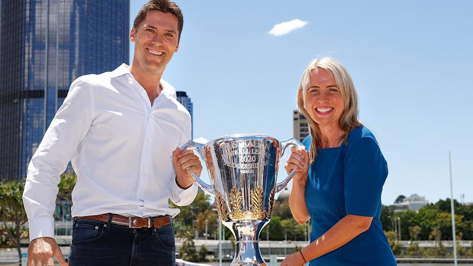 Simon Black and Kate Jones MP, pictured here at the 2020 AFL Grand Final Footy Festival Launch.