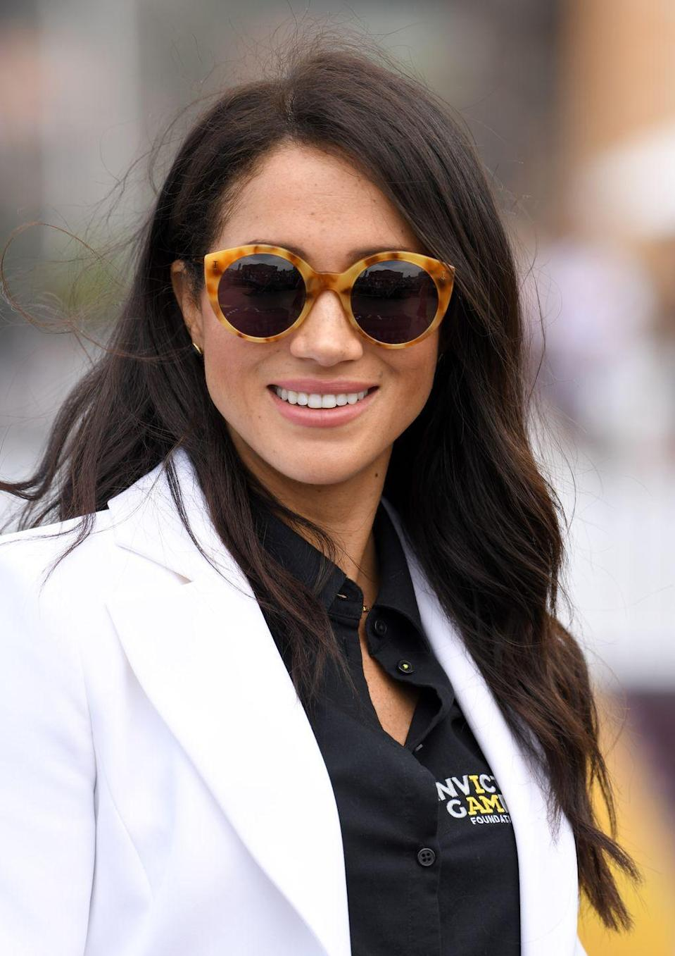 <p>Meg attended the Invictus Games in October 2018 where she rocked these fun frames from Illesteva. Unfortunately, the <em>exact </em>color combo that she had on at this event isn't available for purchase at the moment, but keep scrolling for options!</p>