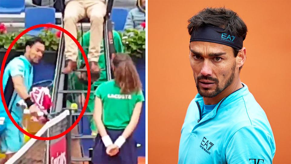 Italian tennis star Fabio Fognini (pictured right) wants an apology from the ATP after he was disqualified from the Barcelona Open (pictured right). (Images: Twitter/Getty Images)
