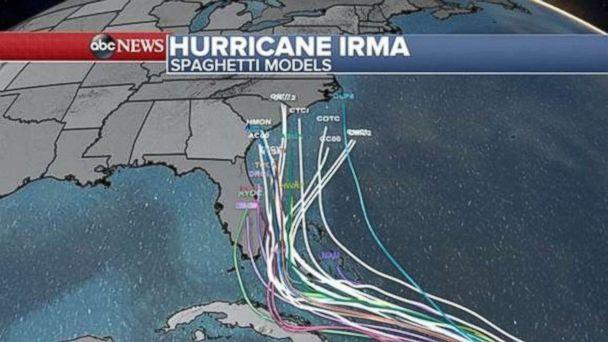 PHOTO: Hurricane Irma spaghetti models as of 2 p.m. Sept. 6, 2017. (ABC)