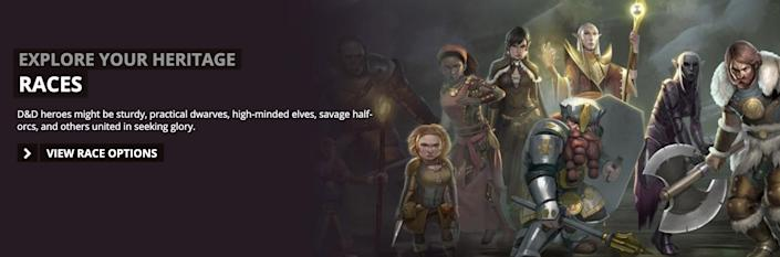 """The D&D website invites players to """"explore your heritage"""" and choose a race. (Photo: HuffPost US)"""