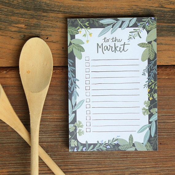 """To The Market Notepad; $8 at <a href=""""https://www.etsy.com/listing/197420544/to-the-market-notepad?ref=sr_gallery_32&ga_search_query=notepad&ga_page=8&ga_search_type=all&ga_view_type=gallery"""" rel=""""nofollow noopener"""" target=""""_blank"""" data-ylk=""""slk:etsy.com"""" class=""""link rapid-noclick-resp""""><em>etsy.com</em></a>"""