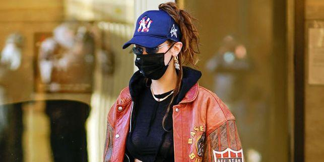 Bella Hadid Keeps it Casual in a Tiny Crop Top & Velour Sweatpants