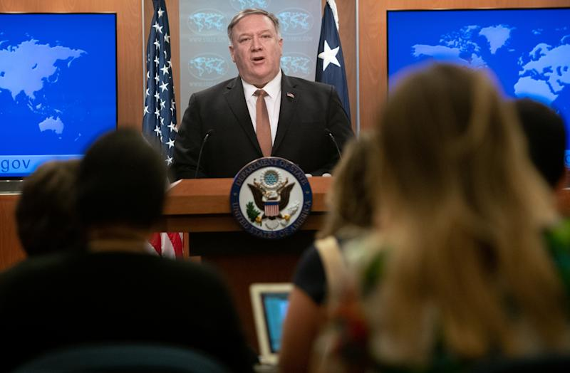 US Secretary of State Mike Pompeo announces that the US will designate Iran's Islamic Revolutionary Guard Corps (IRGC) as a Foreign Terrorist Organization (FTO) during a press conference at the State Department in Washington, DC, April 8, 2019. (Saul Loeb/AFP via Getty Images)