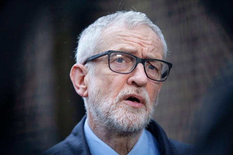 Labour party leader Jeremy Corbyn speaks to the media on the coronavirus pandemic outside the Finsbury Park Jobcentre, north London, on 15 March 2020: PA