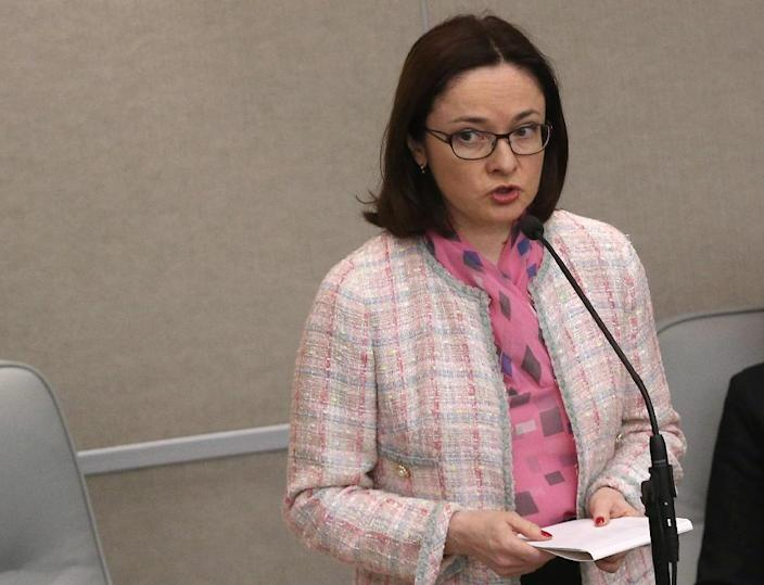 """Russian Central Bank Governor Elvira Nabiullina cautioned that so far, signs of a revival are """"still very patchy and unsteady"""" (AFP Photo/)"""