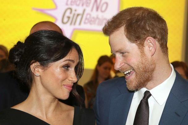 PHOTO: Meghan Markle and Prince Harry speaks they attend the Women's Empowerment reception at the Royal Aeronautical Society, April 19, 2018, in London. (Chris Jackson/Getty Images)