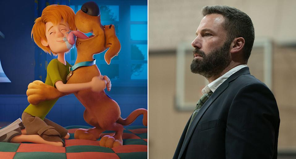 A composite image showing stills from Scoob! and Finding The Way, featuring Ben Affleck. (Warner Bros.)