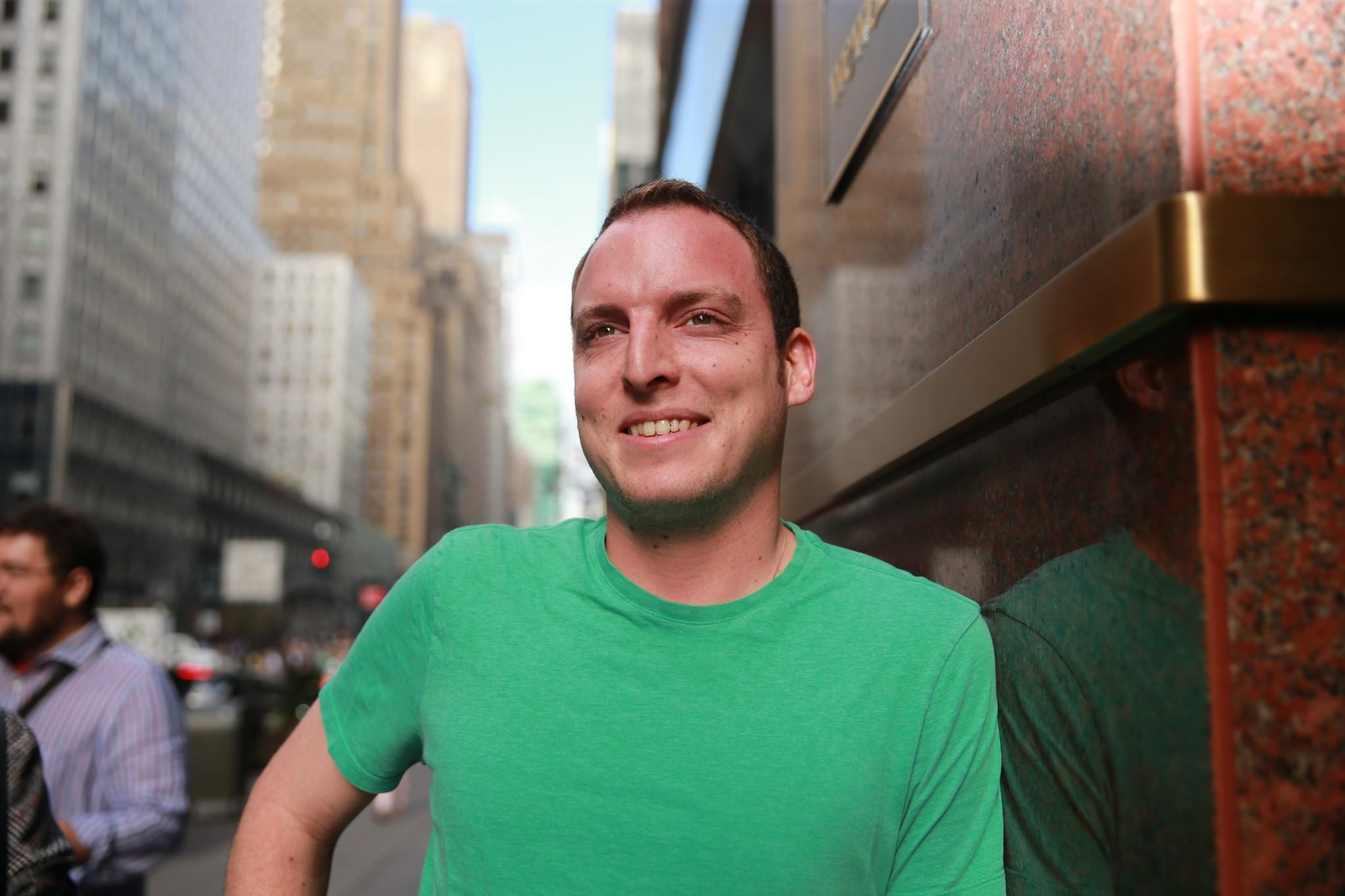 Issac Saul poses for a photo outside his office in New York City.