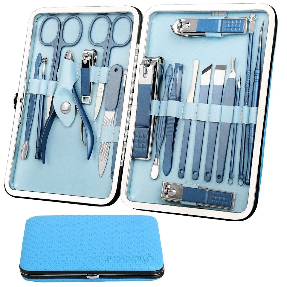 "<h3>Esarora Manicure Set, 20 In 1 Stainless Steel Professional Kit</h3> <br>Feeling blue? This 20-piece set has over 2,000 Amazon reviews to back it up, so you can feel good about this pro-level set. (Pair it with some <a href=""https://www.refinery29.com/en-us/light-blue-nail-polish"" rel=""nofollow noopener"" target=""_blank"" data-ylk=""slk:baby-blue nail polish"" class=""link rapid-noclick-resp"">baby-blue nail polish</a> for ultimate synchronicity.)<br><br><strong>esarora</strong> Manicure Set, 20 In 1 Stainless Steel Professional Kit, $, available at <a href=""https://amzn.to/2SkP9Tf"" rel=""nofollow noopener"" target=""_blank"" data-ylk=""slk:Amazon"" class=""link rapid-noclick-resp"">Amazon</a><br>"
