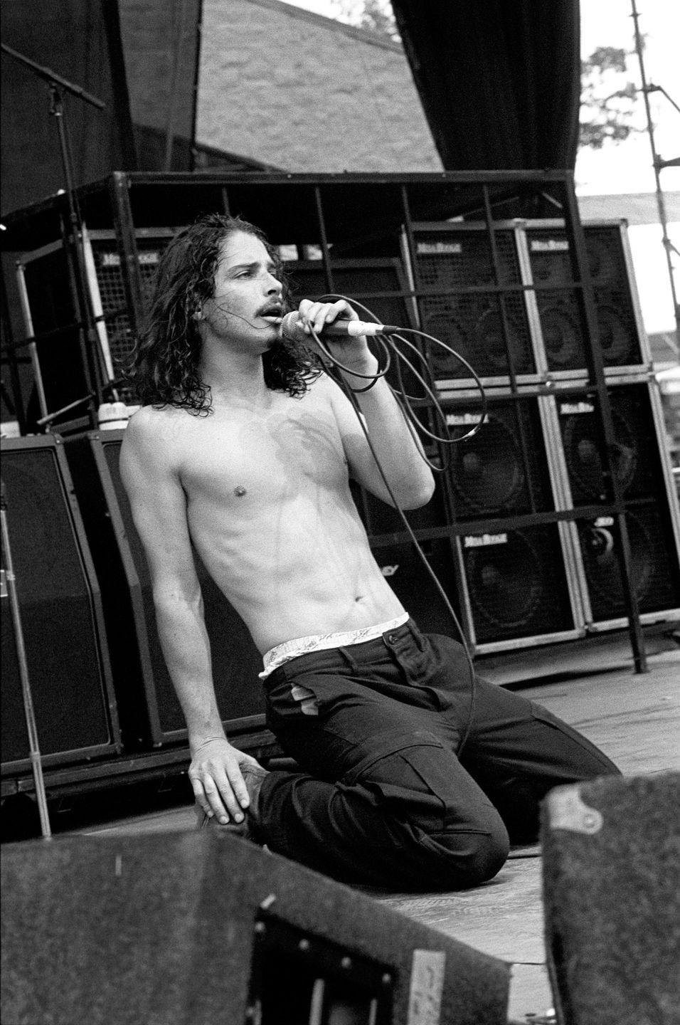 <p>Chris Cornell performing with Soundgarden at Lollapalooza at Montage Mountain, Pennsylvania on August 15, 1992.</p>