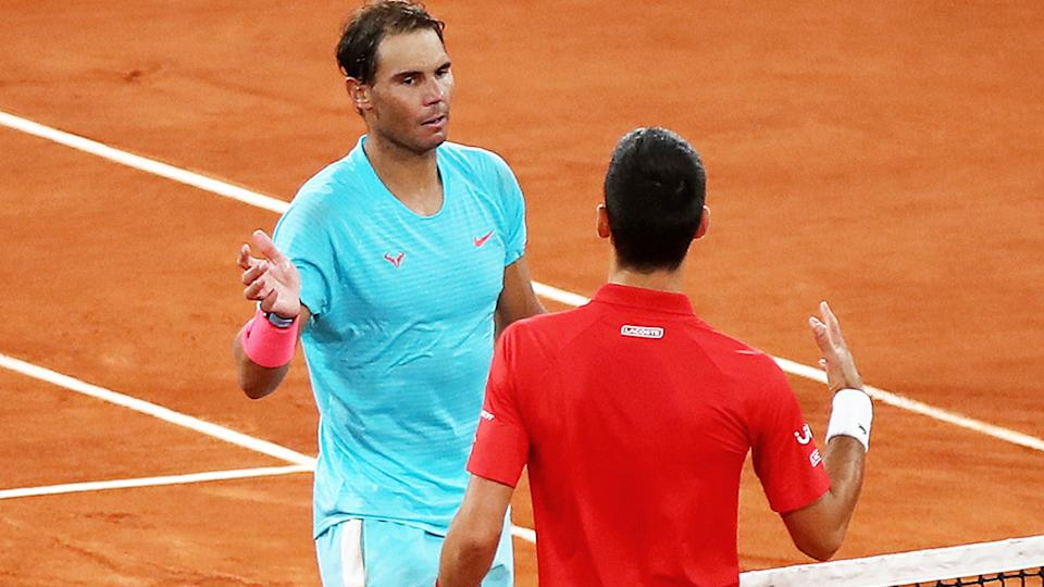 Rafael Nadal and Novak Djokovic, pictured here after the 2020 French Open final.