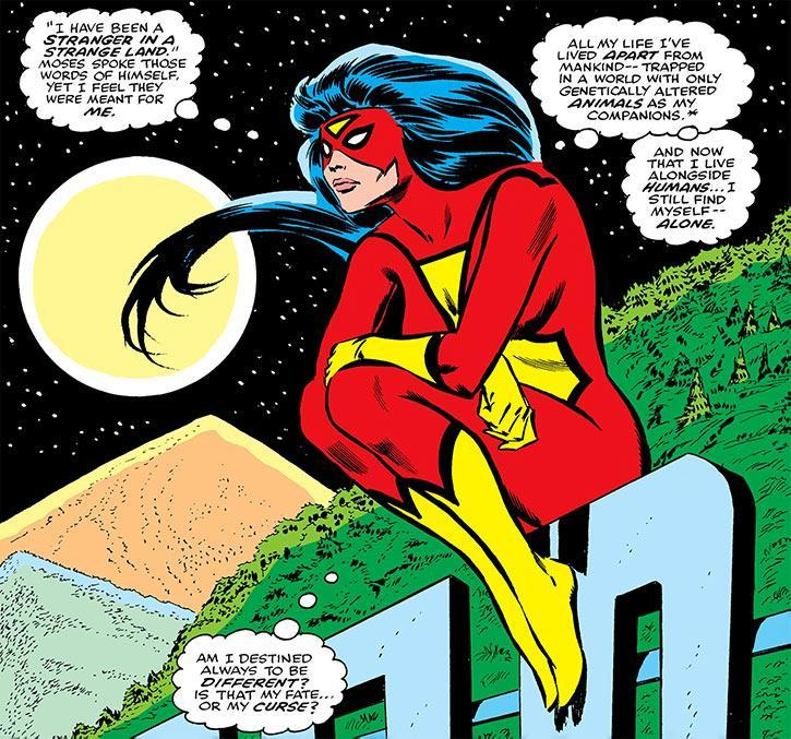 Spider-Woman, sitting atop the Hollywood sign.