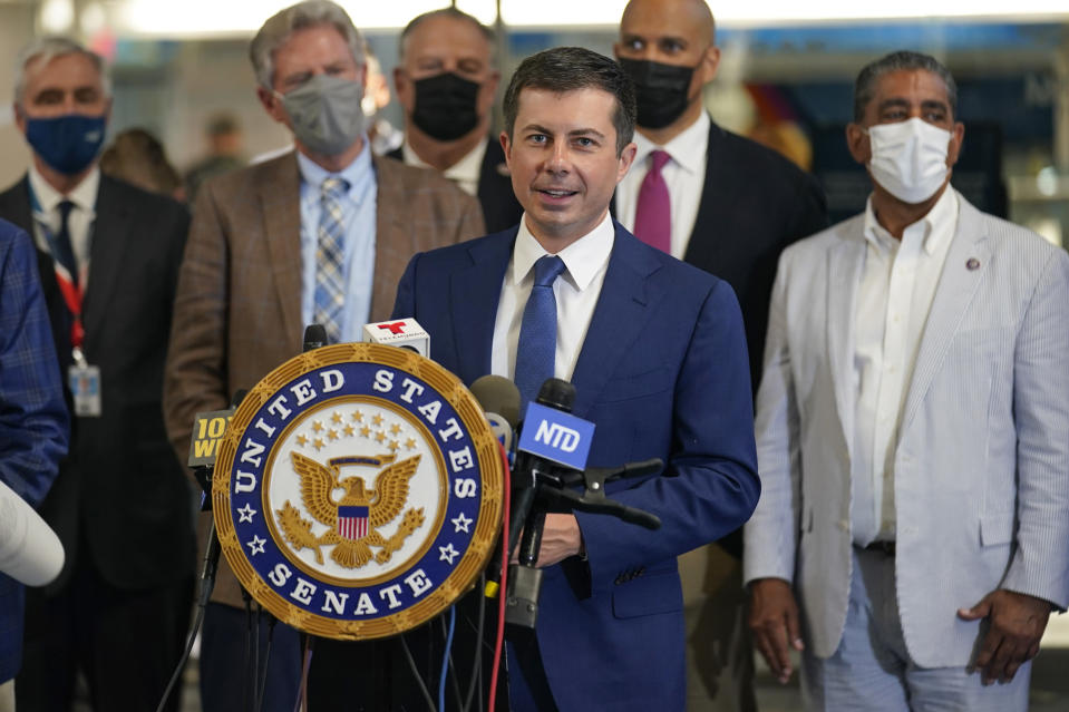 Secretary of Transportation Pete Buttigieg speaks during a news conference in New York, Monday, June 28, 2021. Buttigieg toured the century-old rail tunnel connecting New York and New Jersey as a long-delayed project to build a new tunnel gains steam. (AP Photo/Seth Wenig)