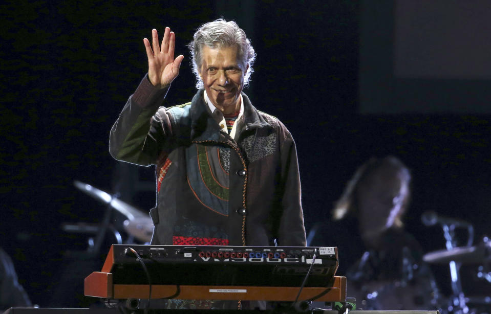 FILE - Chick Corea performs at the 62nd annual Grammy Awards on Jan. 26, 2020, in Los Angeles. Corea, a towering jazz pianist with a staggering 23 Grammy awards who pushed the boundaries of the genre and worked alongside Miles Davis and Herbie Hancock, has died. He was 79. Corea died Tuesday, Feb. 9, 2021, of a rare for of cancer, his team posted on his web site. His death was confirmed by Corea's web and marketing manager, Dan Muse. (Photo by Matt Sayles/Invision/AP, File)