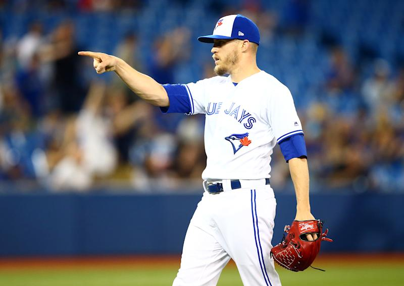 TORONTO, ON - JULY 03: Ken Giles #51 of the Toronto Blue Jays reacts at the end of a MLB game against the Boston Red Sox at Rogers Centre on July 03, 2019 in Toronto, Canada. (Photo by Vaughn Ridley/Getty Images)