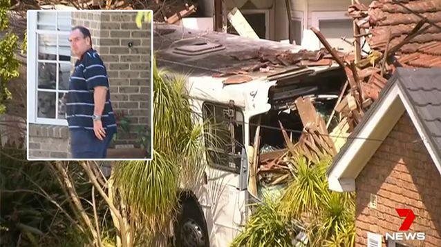 Philip Henson (inset) was allegedly behind the wheel of the bus that crashed into two homes. Source: 7 News