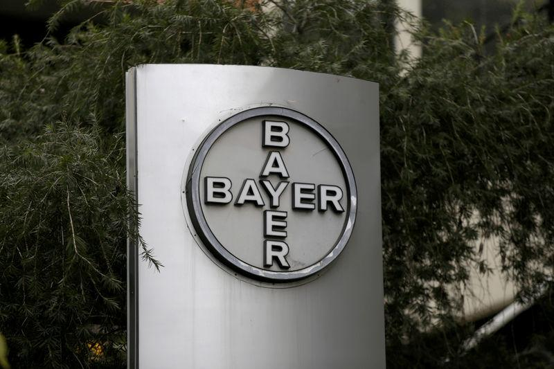 FILE PHOTO: The corporate logo of Bayer is seen at the headquarters building in Caracas
