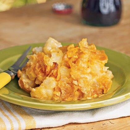 """<p><strong>Recipe: <a href=""""https://www.southernliving.com/syndication/cheesy-potato-casserole-corn-flakes"""" rel=""""nofollow noopener"""" target=""""_blank"""" data-ylk=""""slk:Cheesy Potato Casserole with Corn Flakes"""" class=""""link rapid-noclick-resp"""">Cheesy Potato Casserole with Corn Flakes</a></strong></p> <p>Like we said, that cornflake topping is a real crowd-pleaser. A paired-down ingredient list makes this dish even more appealing. </p>"""